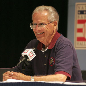 Longtime San Diego Padres baseball broadcaster Jerry Coleman speaks about his career, during a news conference Saturday, July 30, 2005 in Cooperstown, N.Y. Coleman played nine seasons with the New York Yankees, and made the switch from player to broadcaster. Coleman will receive the Ford C. Frick award, presented annually for major contributions to baseball broadcasting, during National Baseball Hall of Fame induction ceremonies.