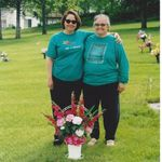 Terri and Susan at Mother's Grave
