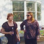 Debbie and Katherine waiting on the guest of honor to arrive.