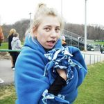 Erin at a very cold track meet in 8th grade at Highland School.