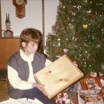 """1984. Opening the """"writing tablet"""" that Tams made her in 5th grade"""