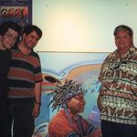 This is a shot of David and I with Carson Waterman. We went up to visit along with my family. This was in Carson's studio. Georgeta took the picture.