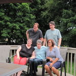Dyer family get together at sister Donna's. Diana, Drew, David, Donna and Dennis. David was living at KentRidge.