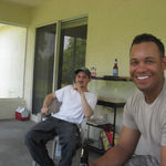 Home on leave from Iraq.  Justin and Derek