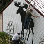 Painting his garage with Moose with nephew, Bob Bowen (the moose artist).