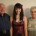 papa, grandma, & rachael at rachael's homecoming 2009