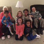Mom and Dad with 5 of the Great Granddaughters