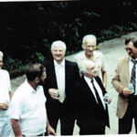 This is a photo sent from my Uncle George Campbell from Arizona.  He knew Dr. Brown through my dad, Dr. Pat Campbell.  This is Noel 'holding session' at my brother Tom's wedding. In the photo, Noel, Pat, George C. George R, Warren V., Don Shewry, Bob Mainey, Neil Campbell. ~ Mary Clare Holladay
