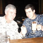 nick and dad drinking irish coffee