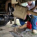 Billy installing his rear end on his Dodge Dakota
