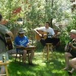 Summer of 2012, Dennis and Barb Lamb backyard in Casper, Wyoming. left to right Bill Conway on Bass, Gary Anderson, guitar, Tim Lamb, Dobro, Mike Lamb, guitar, Mike Twomey, guitar and vocals, Dennis Lamb, Mandolin