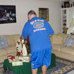 Christmas 2010, Wallace showing off gator wardrobe