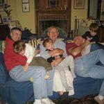 All the Bradley Boys on one sofa, James, Chase, Glenn, Zeke, Dan, Lucas