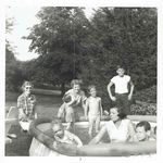 Jerry (hands on hips), Aunt Kay to his right, Mom in the pool, Skip to Mom's left, little kids ?
