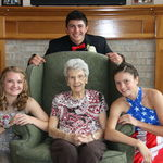 Grandma Virge with grandchildren Kelsi, Marcus and Cara for Prom 2018