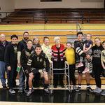 Grandma at her grandson's wrestling meet 2019