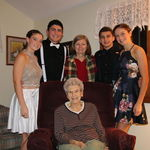 Grandma with Susie, Sarah, grandchildren Marcus and Cara and Korbyn.