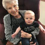 Grandma Virge holding her great-great grandson Wesley