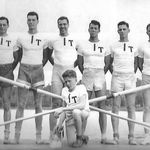 An MIT Graduate in Civil Engineering, he was most proud of his time on the MIT Crew team and as its Captain. (standing far right), with his college roommate and lifelong friend, John W. (Jack) Leonard (kneeling)