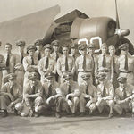 Joined the Navy for WWII.   Pictured is the Naval Air Station, 767 Fighters, Daytona Beach 1944 (kneeling, third from left)