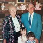 Grandma and Poppie with granddaughters Kim and Katie 1993