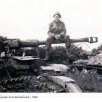 Mike sitting on a German tank June 1945