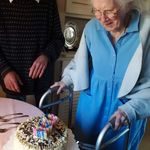 I baked mom a cake for her 100th.  It took Joe & I a long time & careful planning to get all 100 candles lit.