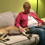 """Mrs. Keating with her favorite """"grand-dog"""" - daughter Maureen's sweet Ginger"""