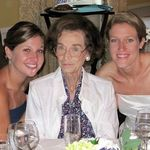 "Elizabeth (""Mimi"") with her granddaughters Sarah and Mary at Sarah's wedding reception, August 2009"
