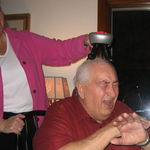 Dad wanted a head massage!