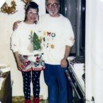 Shirley and Manuel decked out for the holidays 1990s.