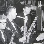 Elwyn (Red) Schommer tootin' the sax with the Arch Ardian Orchestra.