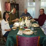 Thanksgiving Thai soup with Lion, Tom, Dennis and Suzie--Paul opposite the empty chair of hostess Karyn Barry, who took the photo. November 20111.
