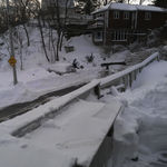 The big snow of 7-8 February 2013 forced the postponement of Paul's funeral. This is a view up the hill from his house.