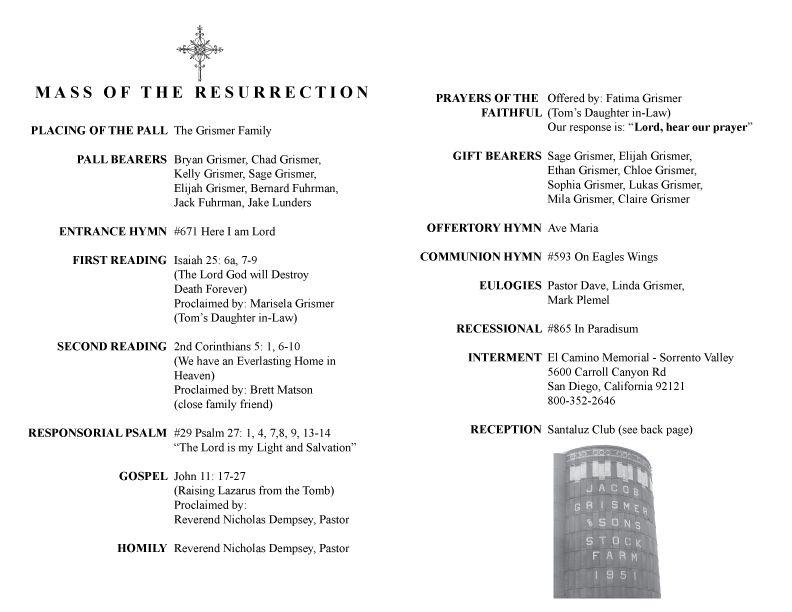 catholic funeral program templates catholic funeral mass program template