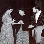 Myrtle (Eve Iwicki) has a word with Arry (Virginia) in Mornings at Seven  Playhouse South, 1990