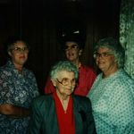 Sisters...Agnes Pennington (L), Mom (C), Betty Nation (R) and Granny Frieda Wehring (bottom C)