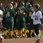 The Thrill of Victory and the Agony of Defeat... Monday, April 23rd, 2007 - 6:11 pm  As the Grossmont Griffins celebrate their 11th-inning 7-6 victory, disappointment engulfs Sipau Lee-Noa's face as she drops the game ball and exits the field.