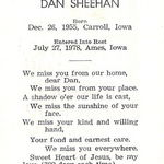 Back of Dan's mass card.