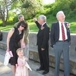 Granddaughter Amanda, great granddaughter Leila, son Brian, Dad and son-in-law Jeff Aubé