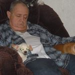 Jim with Cocoa, Princess, and his baby Cheechy.