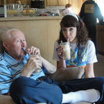 papa&rachael drinking a rootbeer float during papa's 80th birthday weekend :D