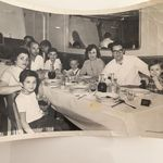 On the boat from Italy in 1958 with Ada's husband, uncle Frank, and her 2 toddlers born in Italy, Danny and Cynthia and my family, my mother, uncle Frank's sister, husband and myself, Maria, and my brother, Andrew.