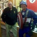 Buddy had a fantastic sense of humor, so I surprised him on Halloween 2010, by dressing up as Captain America to have our picture taken in front of the WWII display. Of all the things I will miss most about my friend, hearing his laughter is at the top. Love you brother!