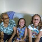LOUIES MOTHER...PILAR RODRIGUEZ. WITH OUR GRAND DAUGHTERS NATALIE AND SOPHIA VISITING FROM FLORIDA ...GREAT GRANDMOTHER