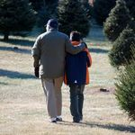 Joel with grandson Isaac while out in Loudon County to cut a Christmas tree in December 2008