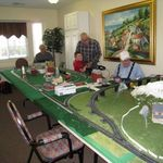 Joe and Denny workijg on the model trains at Legacy