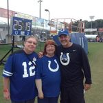Carla and Jeff met Chuck Pagona of the Colts from Facebook
